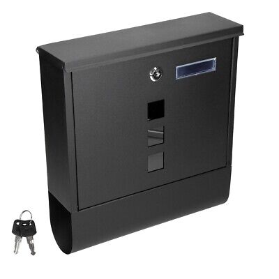 Steel wall mounted lockable mail letter post box newspaper holder black design
