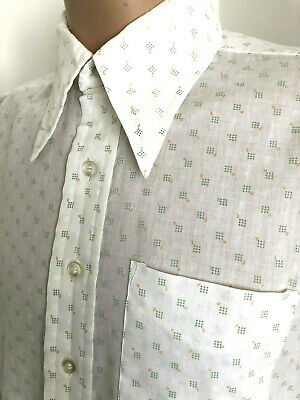 70'S White New Creed Patterned Vtg Shirt Dagger Collar Disco Party 46 X 16.5 Xl