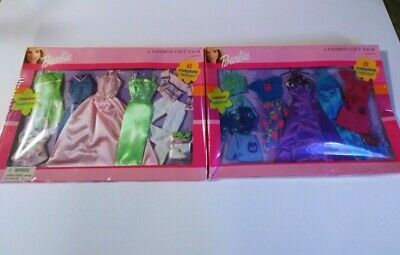 2 Pack -Rare Barbie Doll 6 FASHION GIFT PACK Clothes Outfits Set w/Shoes 2002