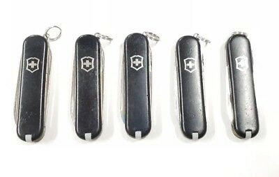 Lot of 5 Victorinox Swiss Army Pocket Knives - Black Classic SD Multi Tools