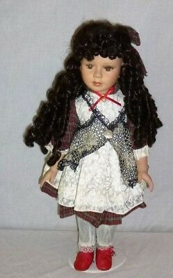 """Porcelain Doll with Stand, 19 """" TallLong Curly Life Like HairBeautiful Detail"""