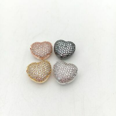 1pc 14mm gold plated Cz micro pave hollow heart loose beads for jewelry making