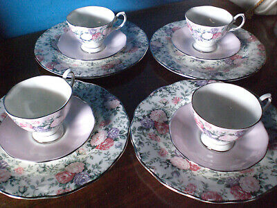 Royal Albert Rose Garland  Set  4 Espresso Cup & Saucer And Accent Salad Plate