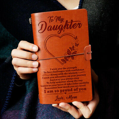 To My Daughter Face Challenges Love Mom Engraved Leather Journal Notebook Diary