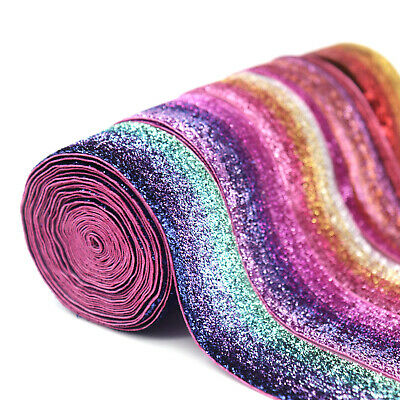 2Yards Rainbow Glitter Trim Ribbon Handmade Material DIY Apparel Sewing