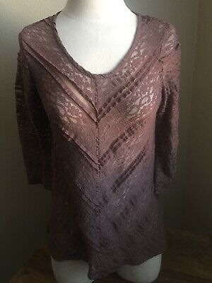 f5eca27375f16e ANTHROPOLOGIE LILKA women's Brown Lace stretch 3/4 sleeve tunic blouse Small