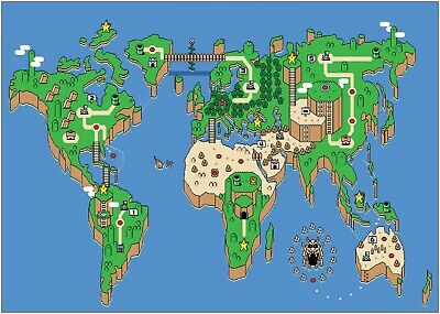 Super Mario World Retro Gaming Map Large Poster Art Print A0 A1 A2 A3 A4 Maxi