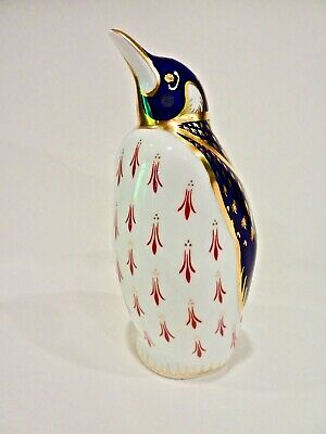 ROYAL CROWN DERBY IMARI PENGUIN - GOLD BLUE FiIGURINE w/ GOLD  BUTTON