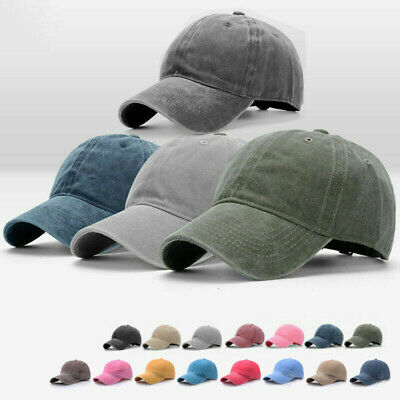 Casual Plain Washed Cap Style Cotton Adjustable Baseball Cap Blank Solid Hat Men