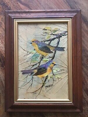 Unusual Vintage Signed Oil Painting (Birds) On Leaves/Board