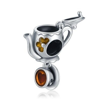 Tea Set Dangle Coffee Mug Cup Charm Bead Fit Bracelet 925 Sterling Silver Enamel