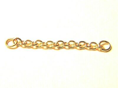 """9ct Rose Gold Heavy  Bracelet Safety Chain  3"""" Length-18/18 Gauge-.375 Red"""