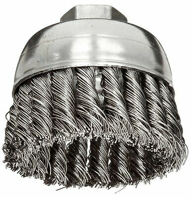 "Weiler 2-3/4"" Knot Wire Cup Brush 5/8""-11 Threaded Arbor .020 Steel Wire 3AC09"
