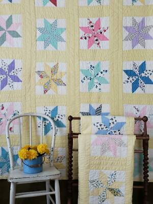 """A PAIR! Vintage c1930s Yellow Star QUILTS Cottage Home 77 1/2"""" x 62 1/2"""""""