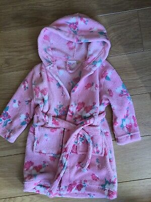 John Lewis Baby Girl Pink Rose Floral Cosy Hooded Dressing Gown 12-18 Months 🌸