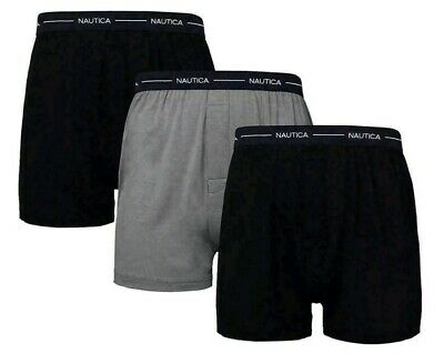 Nautica Men's Medium M 32-34 Cotton Modal Boxer 3-Pack Black Gray Underwear