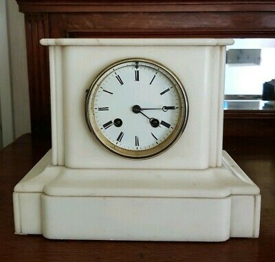 High quality Antique 'Rollin a Paris' 1880s White Marble Chiming Mantel Clock