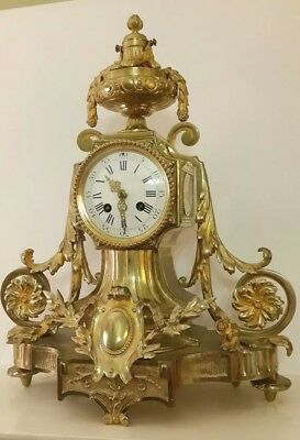 Exceptional Antique French 1880s Gilt Ormolu Bronze Chiming Mantle Clock S.Marti