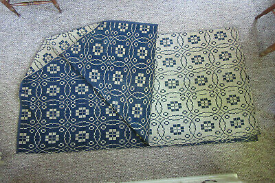 Indigo And Ivory Antique Jacquard Coverlet Bed & Bath Linens
