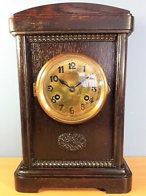 Antique Oak Cased Striking Mantel Bracket Clock, Working order