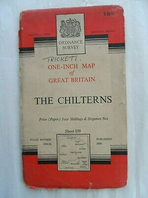 Vintage Ordnance Survey OS One Inch Paper Map #159 The Chilterns 1959
