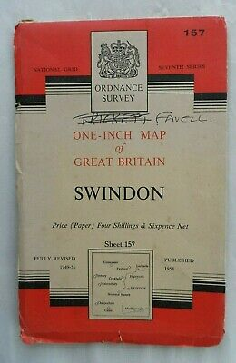 Vintage Original Ordnance Survey OS One Inch Paper Map #157 Swindon 1958