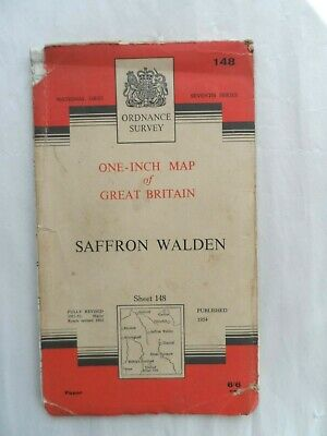 Vintage Original Ordnance Survey OS One Inch Paper Map #148 Saffron Walden 1954