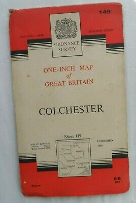 Vintage Original Ordnance Survey OS One Inch Paper Map #148 Colchester 1956