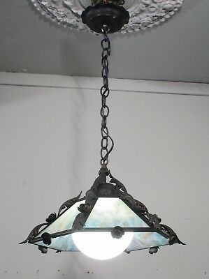 Antique Vintage Iron Slag Glass Pendant Light Fixture Lamp Blue 1 Lt.Petite