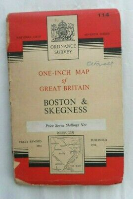 Vintage Ordnance Survey OS One Inch Cloth Map #114 Boston & Skegness 1954