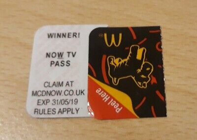 McDonalds 2019 Monopoly NOW TV PASS Instant Win UNCLAIMED