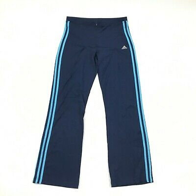 Adidas Womens High Waist Workout Pants Front Zip Stretchy Blue Stripe Athleisure