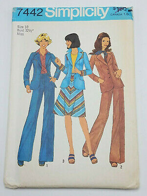 Vintage 1976 Simplicity Pattern 7442 Unlined Blazer Bias Skirt Pants Sz 10 UNCUT