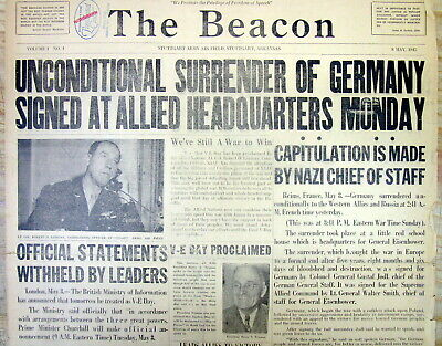 Rare1945 WW II US Army Air force base newspaper GERMANY SURRENDERS to the ALLIES