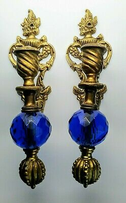 Pair Antique Brass & Cobalt Blue Faceted Glass Candle Wall Sconces