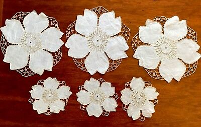 Vintage Lot Hand Embroidered White Taupe Sunflower Table Centre Doiley Cloths