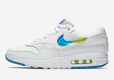 Nike Air Max 1 SE WHITE JEWEL SWOOSH JELLY PHOTO BLUE LIME GREEN AO1021-101 8-14