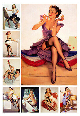 Vintage Pin UP Girl Retro Burlesque Erotic Art Print Nude Posters A4  sizes