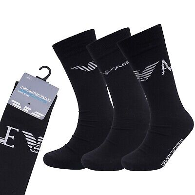Men's Emporio Armani Cotton Rich Sports Athletic Socks 3 Pair Pack UK 6 -11