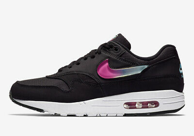 Nike Air Max 1 SE BLACK JEWEL SWOOSH JELLY FUCHSIA PINK PURPLE AO1021-003 8-14