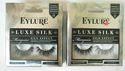 42ceb3f7651 LOT OF 2 Eylure Luxe Silk Effect False Eyelashes, Marquise, Reusable -BRAND  NEW