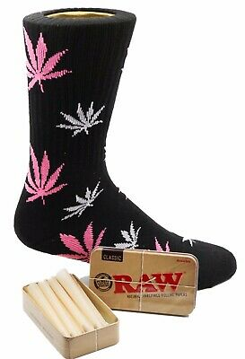 Raw King Size Cones 15 count + Raw Tin + Free Black and Pink  Socks