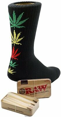 Raw King Size Cones 15 count + Raw Tin + Free Jamaican Leafed Black Socks