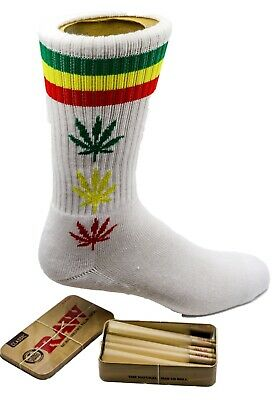 Raw King Size Cones 15 count + Raw Tin + Free Old School  Leafed white Socks