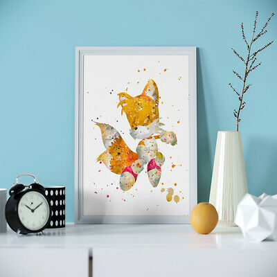 Tails Sonic the Hedgehog Print Poster Gift Artwork Wall Art Watercolor Canvas