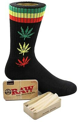 Raw King Size Cones 15 count + Raw Tin + Free Black Colored Leafed Socks