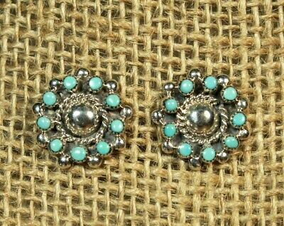 7595db986 GENUINE ZUNI EARRINGS Sterling Silver Petit Point Turquoise Post ...