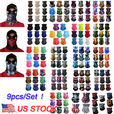 9PCS/Set Face Mask Sun Shield Neck Gaiter Balaclava Neckerchief Bandana Headband