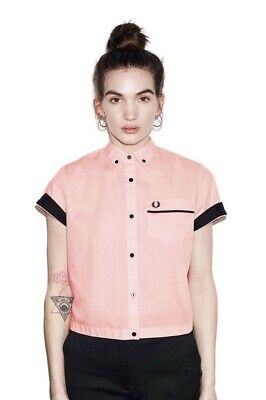 97a7008e4 Fred Perry Amy Winehouse Pink Cropped button down Bowling Shirt sz 6 US