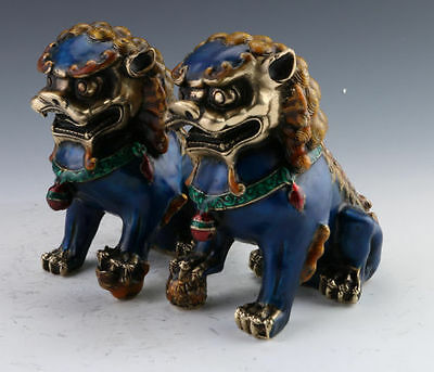 A Pair Chinese Cloisonne Copper Statue - Lion  mm23 g01